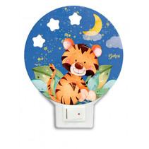 nachtlamp tijger led junior 12 x 14 cm hout