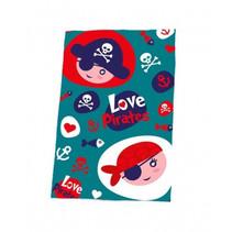 fleecedeken Love Pirates junior 150 x 100 cm blauw