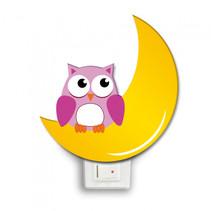 nachtlamp halve maan met uil led 12 x 4 cm hout geel/roze