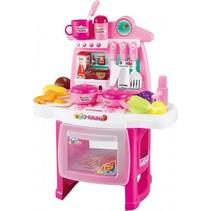 speelkeuken met geluid en licht roze 45cm