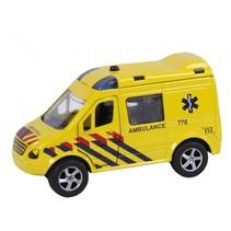 ambulance pull-back met licht en geluid 11 cm geel
