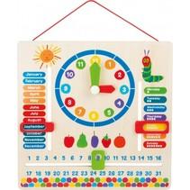 Houten kalenderklok Rupsje Nooitgenoeg 30 x 30 cm