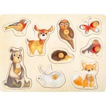 vormenpuzzel Bosdieren hout junior 9 stukjes
