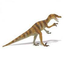 dinosaurus Velociraptor junior 21 cm rubber bruin/beige