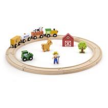 houten trein en treinstation 16-delig