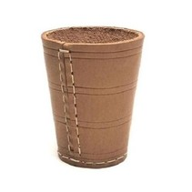 Dobbelbeker naturel leder bruin 8,5 cm