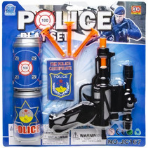 speelgoedpistool Police Play Set junior zwart 7-delig