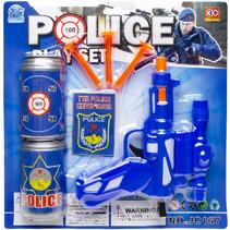 speelgoedpistool Police Play Set junior blauw 7-delig