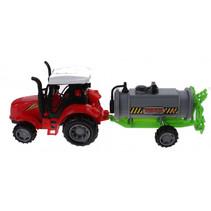 tractor met gierton jongens 25 cm groen/rood 2-delig