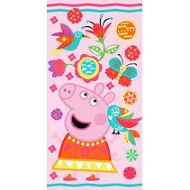 handdoek Peppa Pig junior 70 x 140 cm katoen roze/blauw