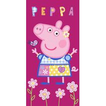 handdoek Peppa Pig junior 70 x 140 cm katoen paars