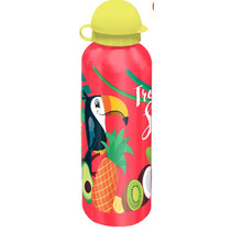 drinkfles Tropical Style junior 500 ml aluminium rood