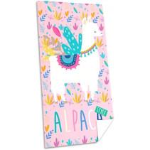 handdoek Alpaca junior 150 x 75 cm polyester roze