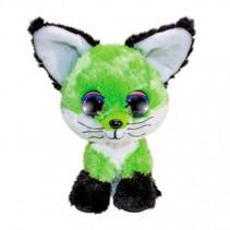 knuffel Fox Lime junior 15 cm pluche zwart/groen