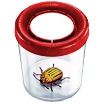 insectenpot junior 10 x 10 cm transparant/rood