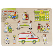 knoppenpuzzel ambulance junior 30 x 22 cm hout 10-delig