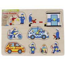 knoppenpuzzel politie junior 30 x 22 cm hout 10-delig