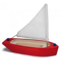 zeilboot rood/wit hout 22 x 9 x 21 cm