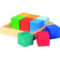 houten bouwblokken 14,5 cm multicolor 9-delig