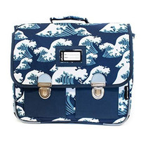 schooltas junior 38 cm polyester blauw/wit