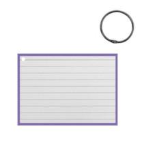 flashcard met clipring A7 papier wit/paars 50 stuks