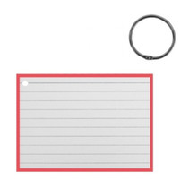 flashcard met clipring A7 papier wit/rood 50 stuks