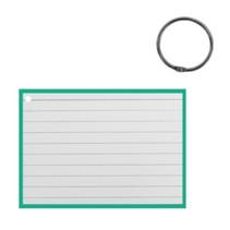 flashcard met clipring A7 papier wit/mintgroen 50 stuks