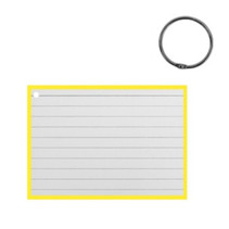 flashcard met clipring A7 papier wit/geel 50 stuks