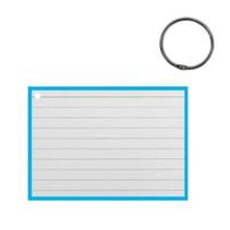 flashcard met clipring A7 papier wit/mintblauw 50 stuks