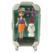pop met hondje in blauwe reiskoffer meisjes 17 cm 6-delig