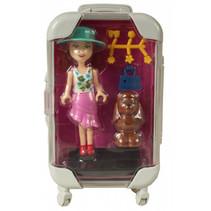 pop met hondje in paarse reiskoffer meisjes 17 cm 6-delig