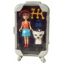pop met poes in paarse reiskoffer meisjes 17 cm 6-delig