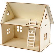 DIY poppenhuis 25 x 18x27 cm x 4 mm lichtbruin