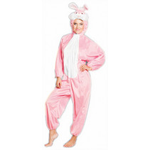volwassenenkostuum Konijn polyester roze/wit one size
