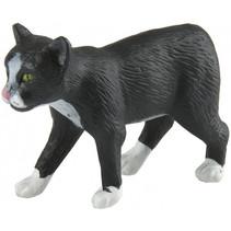 Manx kat junior 10 cm rubber zwart/wit