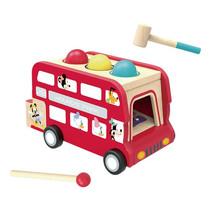 trekfiguur en xylofoon Dubbeldekkerbus 30 cm hout rood