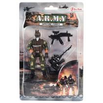 soldaat met machinegeweer jongens 11 cm bruin/groen