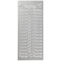stickers Bryllup 10 x 23 cm zilver