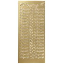 stickers Bryllup 10 x 23 cm goud