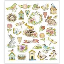 stickervel Voorjaar en Pasen multicolor 15 x 16,5 cm
