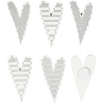 stickers hartjes wit/zilver 25x45 mm 8 stuks