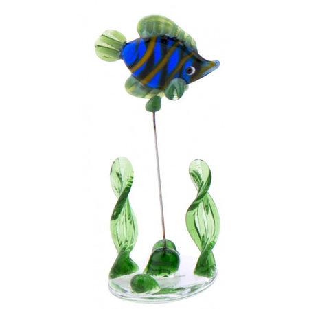 TOM glazen vis op standaard 10 cm blauw/groen