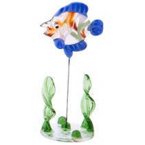 glazen vis op standaard 10 cm blauw/rood/transparant