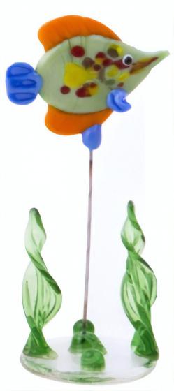 TOM glazen vis op standaard 10 cm oranje/groen