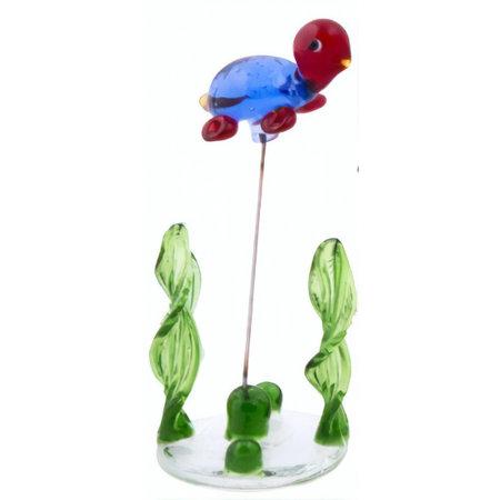 TOM glazen schildpad op standaard 10 cm blauw/rood/groen