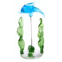 glazen dolfijn op standaard 10 cm blauw/groen