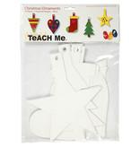Creotime knutselset kerstornamenten 15,5-20,5 cm karton wit 15 stuks