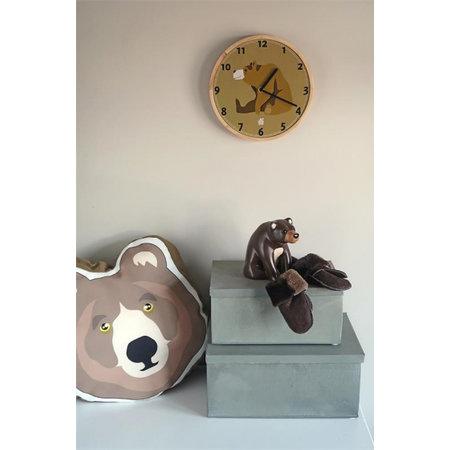 The Zoo wandklok Brown Bear 25 x 3 cm hout bruin/blank