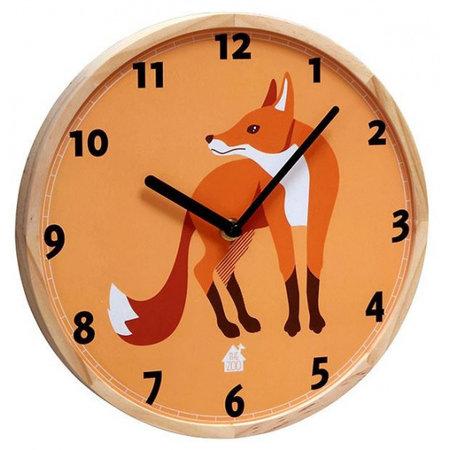 The Zoo wandklok Fox 25 x 3 cm hout oranje/blank