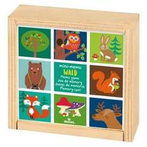 houten mini-memory 9,3 cm bosdieren